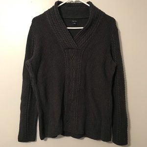 Nautica Cable Knit Sweater with fold-over collar